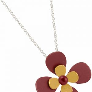 Ti2 P400 Yellow Four Petal Two Tone Titanium Pendant - More Colour Options