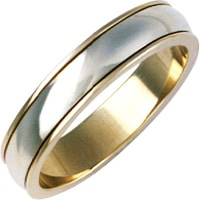 Gents 9ct Yellow And White Gold Wedding Ring
