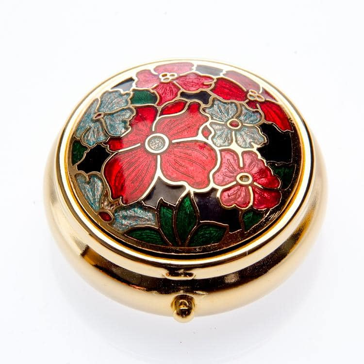 Sea Gems Red Multi Flower Pill Box