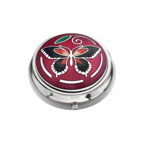 Sea Gems Silver Butterfly And Leaf Pill Box