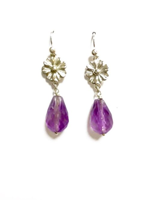 Gerbera amethyst drop earrings