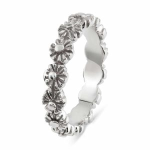 Gerbera Plain Flower Ring in Sterling Silver