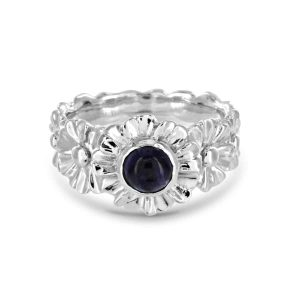 Gerbera And Iolite sterling silver ring