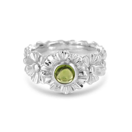 Gerbera Peridot Ring in Sterling Silver