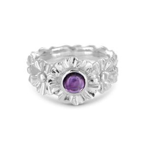 Gerbera ring with Amethyst Gemstone