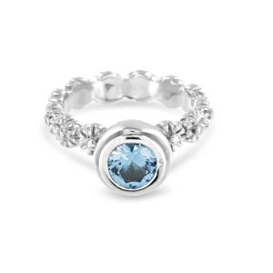 Gerbera Blue Topaz Ring Sterling Silver